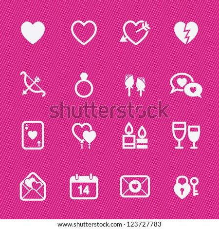 Valentine's Day Icons with Pink Background