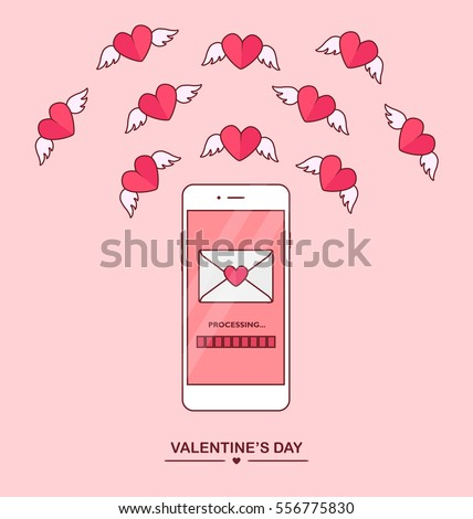 Valentine's day illustration. Send or receive love sms, letter, email with mobile phone. White cellphone isolated on blue background. Flying red heart. Flat line cartoon design, vector icon.