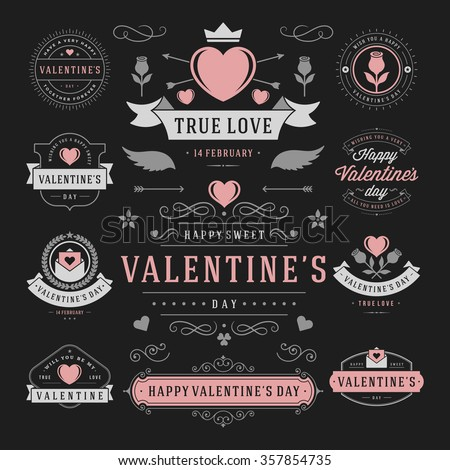 Valentine's Day Labels and Cards Set, Heart Icons Symbols, Greetings Cards, Silhouettes, Retro Typography Vector Design Elements. Valentines day cards, Valentines Badges, Valentines Day Vector Labels. #357854735