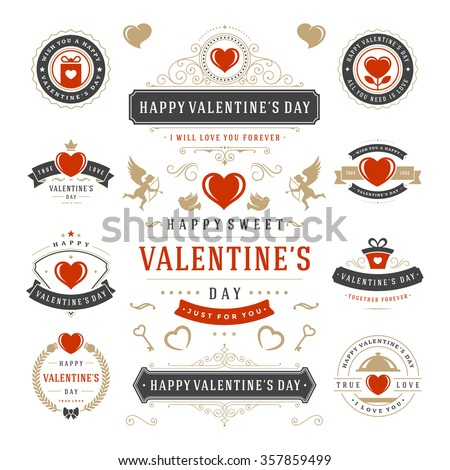 Valentine\'s Day Labels and Cards Set, Heart Icons Symbols, Greetings Cards, Silhouettes, Retro Typography Vector Design Elements. Valentines day cards, Valentines Badges, Valentines Day Vector Labels.