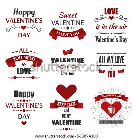 Valentine's Day labels, badges, heart icons, love greetings cards, illustrations and typography vector design elements. Valentines day cards, Valentines Logos, Valentines Day love vector Labels.