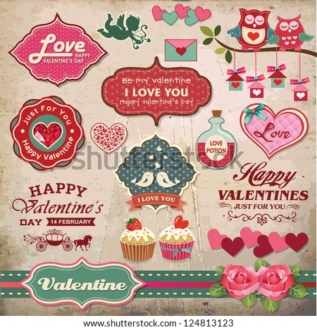 Valentine's day labels, icons elements collection