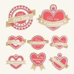 Valentine`s Day Labels. Vector illustration.