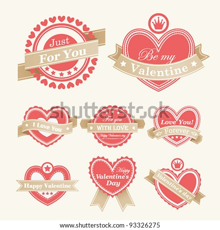 Valentine`s Day Labels. Vector illustration.