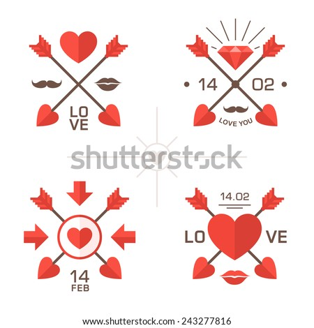 Valentine's day labels with crossed arrows Elements of romantic design to make a message about love weddings or Valentines day