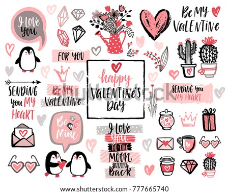 Valentine`s Day Lettering Design Set with hand drawn elements. Vector illustration.