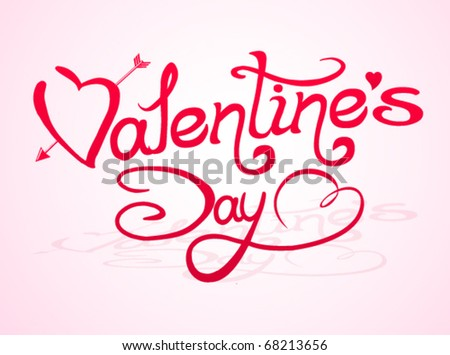 Valentine`s Day lettering with abstract hearts #68213656
