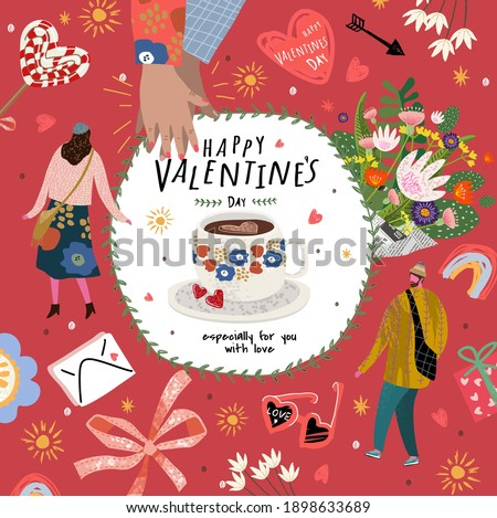 Valentine's Day! Love and February 14. Vector cute illustrations of man, woman, flowers, valentines, hands and letters. Drawings for a postcard, poster or card