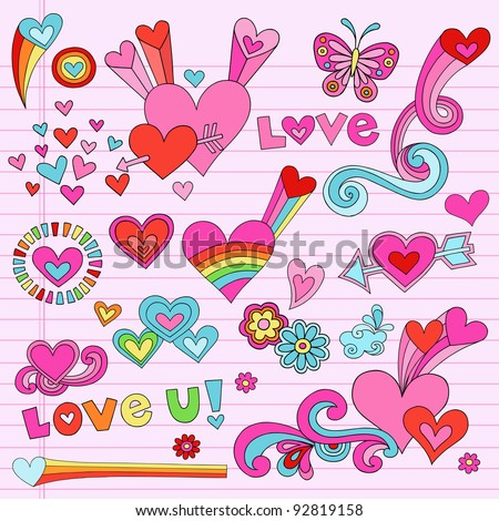 Valentine's Day Love and Hearts Psychedelic Groovy Notebook Doodle Design Elements Set on Pink Lined Sketchbook Paper Background- Vector Illustration