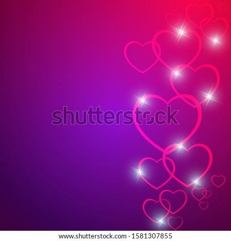 Valentine's day love background concept. Pink hearts with flickering highlights on a beautiful purple gradient. Greeting card Happy Valentine's Day.