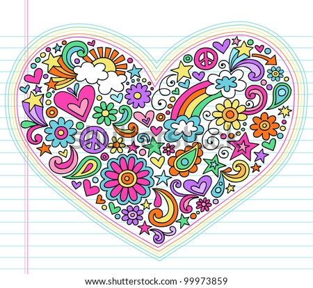 Valentine's Day Love Heart Groovy Psychedelic Hand Drawn Notebook Doodle Design Elements Set on Lined Sketchbook Paper Background- Vector Illustration