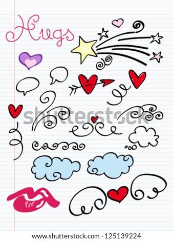 Valentine's Day Love & Hearts Sketchy Notebook Doodles Design Elements on Lined Sketchbook Paper Background- Vector Illustration