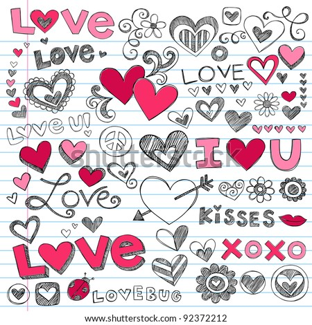 Valentine's Day Love & Hearts Sketchy Notebook Doodles Design Elements on Lined Sketchbook Paper Background- Vector Illustration