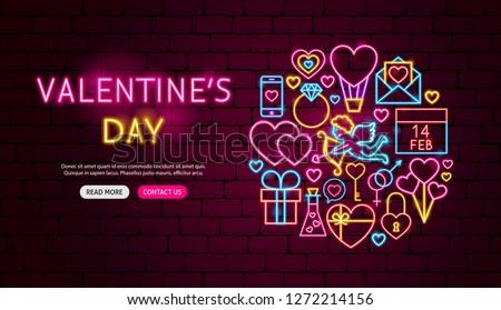 Valentine's Day Neon Banner Design. Vector Illustration of Love Promotion.