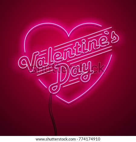 Valentine`s Day neon sign. Vector background.