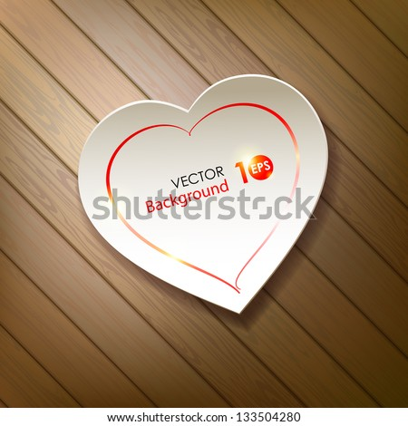 Valentine's Day. Paper heart on a background of wood. Vector eps 10.