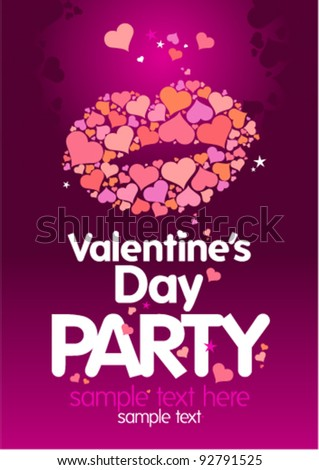 Valentine`s Day Party design template with lips and place for text.