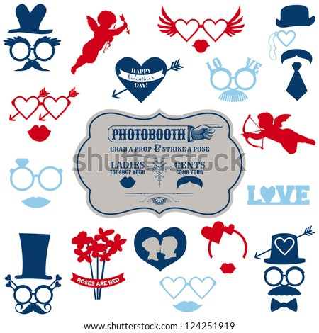 Valentine's Day Party set photobooth props glasses hats lips mustaches masks in vector