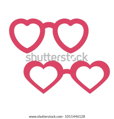 Valentine's Day photobooth Prop vector element. Pink color heart sunglasses