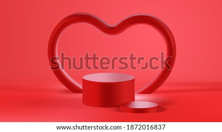 Valentine's day podium scene and heart shape 3d mockup for product display presentation vector