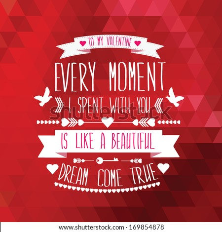 Valentine's Day poster.Typography.Vector illustration.