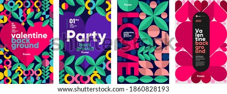 Valentine's day posters, valentines with abstract, geometric background. Geometric prints, geometric patterns. Set of vector posters or event banner.