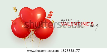 Valentine's Day. Red balloons fly helium round and hearts shape. Background with festive realistic 3d balloons with ribbon. Celebration design with baloon, gold glitter confetti. Vector illustration