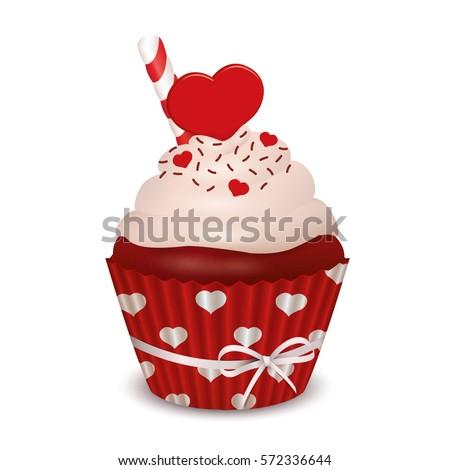 Valentine's day - Red Velvet Cupcake. Vector design.