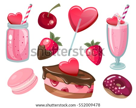 Valentine's day Romantic dating sweet love vector illustration icon set. Valentines day romance couple symbols. Cocktail, donut, chocolate cake, smoothie, lollipop, candy, strawberry, cherry, macaroon