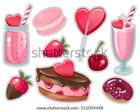 Valentine's day Romantic dating sweet love vector sticker set. Valentines day romance couple symbols. Cocktail, donut, chocolate cake, smoothie, lollipop, candy, strawberry, cherry, macaroon