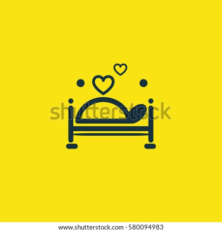 Valentine's day. Romantic design elements isolated. Thin line version. Vector illustration. Bed icon