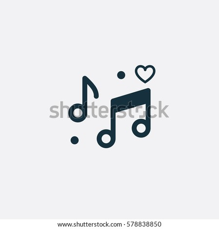 Valentine's day. Romantic design elements isolated. Thin line version. Vector illustration. Music note icon