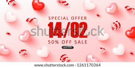 Valentine's Day sale background.Romantic composition with hearts and serpentine. Vector illustration for website , posters,ads, coupons, promotional material.