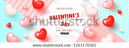 Valentine's Day sale background.Romantic composition with hearts . Vector illustration for website , posters,ads, coupons, promotional material. #1261170361