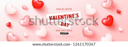Valentine's Day sale background.Romantic composition with hearts . Vector illustration for website , posters,ads, coupons, promotional material.