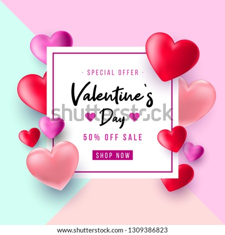 Valentine's Day sale background. Top view on composition with hearts. Vector illustration for website, posters, email and newsletter designs, ads, coupons, promotional material. - Vektör #1309386823