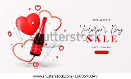 Valentine's Day sale background. Vector illustration with champagne bottle, glasses, gift box, air balloons and red hearts on white background. Promo discount banner.
