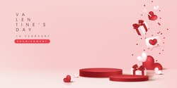 Valentine's day sale banner background with with product display cylindrical shape.