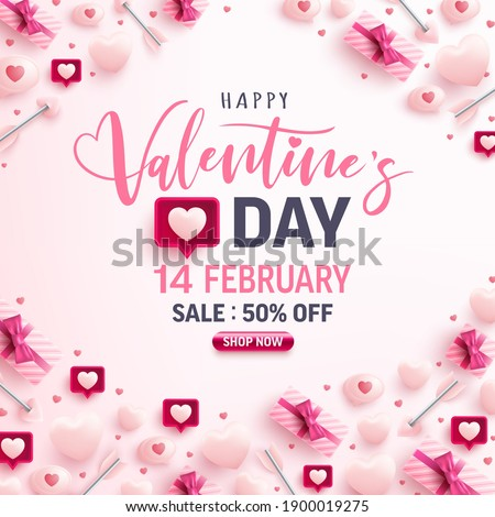 Valentine's Day Sale banner for social media website with sweet hearts,speech bubble and valentine elements on pink background.Promotion and shopping template for love and Valentine's day concept.