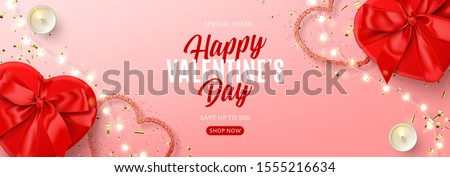 Valentine's Day sale banner template. Vector illustration with realistic red gift boxes, sparkling light garland, candles and confetti on pink background. Promo discount banner.