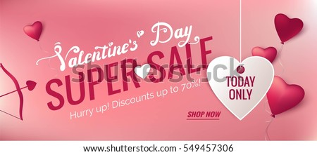 Valentine's day sale banners with 3d heart-shaped balloons and cupid arrow. Vector illustration
