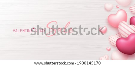 Valentine's day sale, colorful balloon pink heart banner design on white wood background, Eps 10 vector illustration