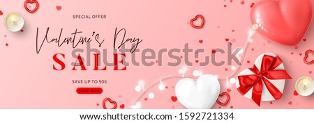 Valentine's Day sale horizontal banner. Vector illustration with realistic pink and white air balloons, gift box, candles, light garland and confetti on pink background. Holiday gift card.