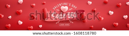 Valentine's Day Sale 50% off Poster or banner with sweet hearts and on red background.Promotion and shopping template or background for Love and Valentine's day concept.Vector illustration eps 10