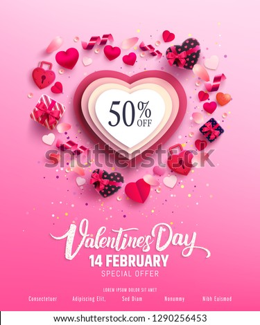 Valentine\'s Day Sale 50% Off Poster with sweet gift box,sweet heart and lovely items on pink background.Promotion and shopping template or background for Love and Valentine\'s day concept.Vector EPS10