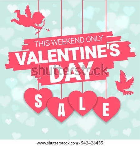 Valentine's day sale offer, banner template. Pink heart with lettering, isolated on blue background. Valentines Heart sale tags. Shop market poster design. Vector