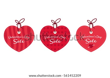 valentines day sale offer banner template red heart with lettering isolated on white - Valentine Sale