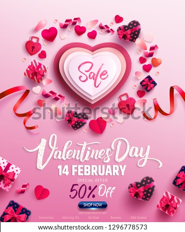 Valentine's Day Sale Poster or banner with sweet gift,sweet heart and lovely items on pink background.Promotion and shopping template or background for Love and Valentine's day concept.Vector EPS10 #1296778573