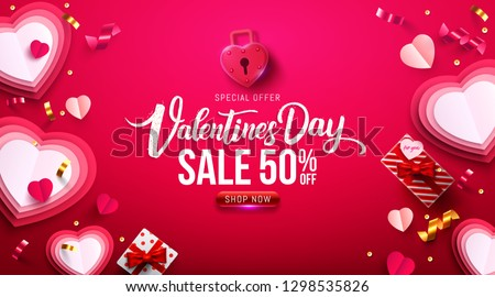 Valentine\'s Day Sale Poster or banner with sweet gift,sweet heart and lovely items on red background.Promotion and shopping template or background for Love and Valentine\'s day concept.Vector EPS10