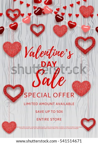 Valentine's Day sale poster. Romantic composition with garlands from paper. Beautiful backdrop with heart from threads on wooden texture. Vector illustration.